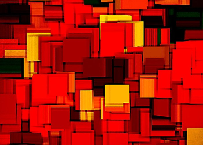 Abstract Greeting Card featuring the digital art Autumn Modern Abstract Xv by Lourry Legarde