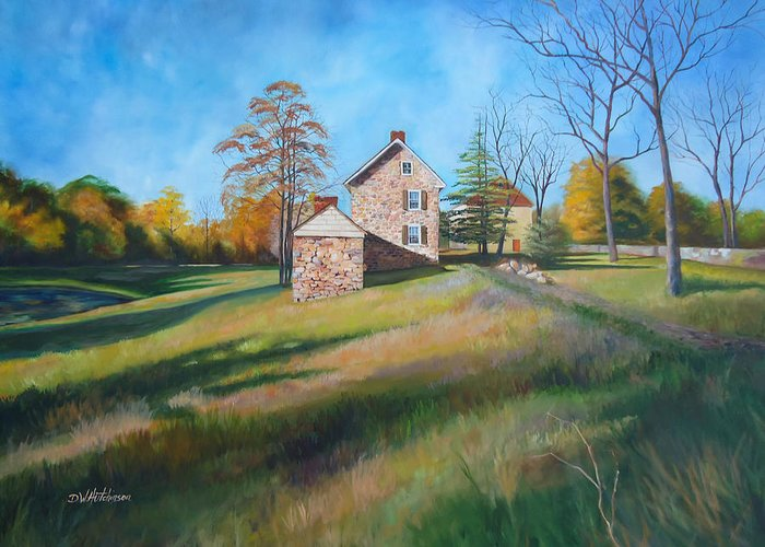 Farm Greeting Card featuring the painting Autumn Morning by Diane Hutchinson