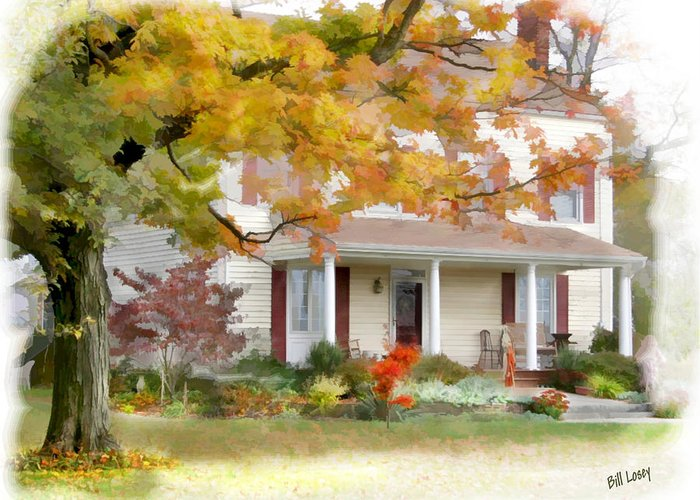 Farm Greeting Card featuring the digital art Autumn On The Farm by Bill Losey