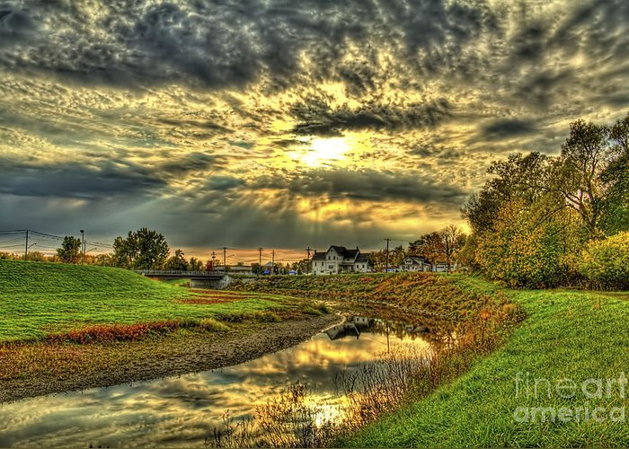 Autumn Greeting Card featuring the photograph Autumn Sunset Reflection by Jim Lepard