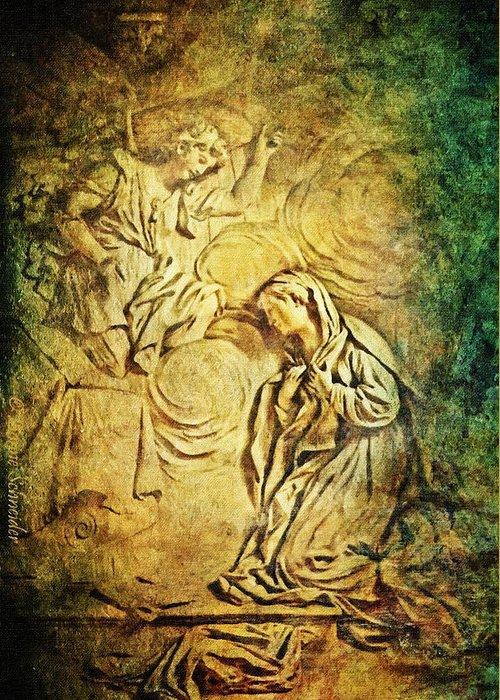 Chapel Greeting Card featuring the digital art Ave Maria...gratia Plena by Lianne Schneider