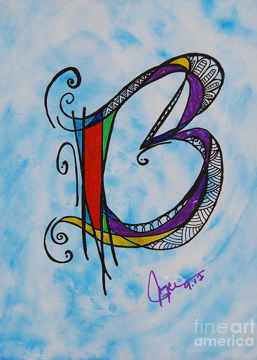 Ink Greeting Card featuring the painting 'b' Monogram by Joyce Auteri