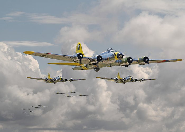 Aircraft Greeting Card featuring the digital art B17 486th Bomb Group by Pat Speirs