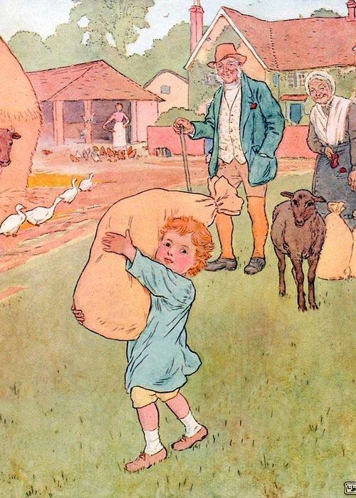Nursery; Rhyme; Rhymes; Songs; Baa Baa Black Sheep; One For My Master; Bag; Sheep; Boy; Wool; Bags Greeting Card featuring the drawing Baa Baa Black Sheep by Leonard Leslie Brooke