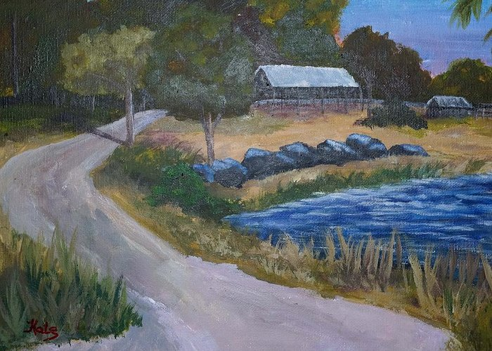 Lake Greeting Card featuring the painting Babcock Ranch Webb Lake by Kathy Przepadlo