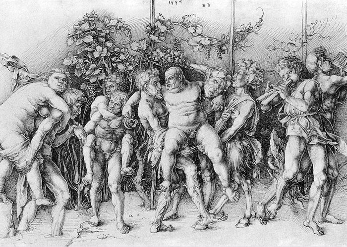 Baccanal Greeting Card featuring the photograph Bacchanal With Silenus - Albrecht Durer by Daniel Hagerman