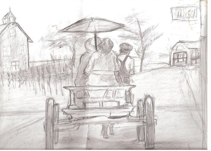 Landscape Greeting Card featuring the drawing Back Home by George Harrison