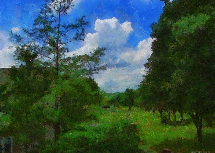 Back Yard Greeting Card featuring the painting Back Yard View by Jeff Kolker