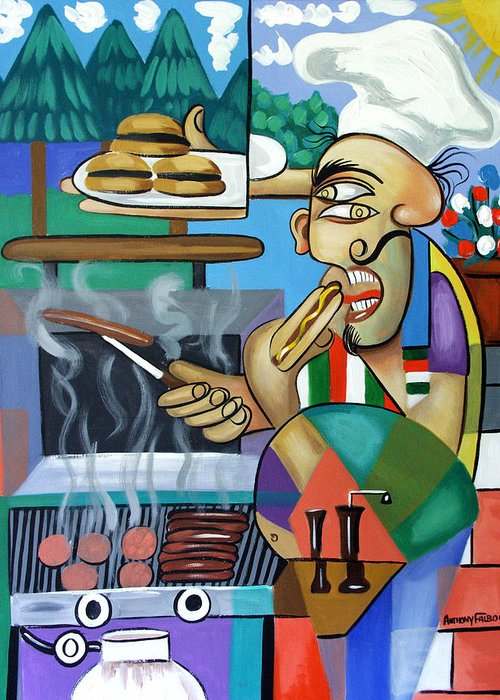 Back Yard Chef Greeting Card featuring the painting Backyard Chef by Anthony Falbo