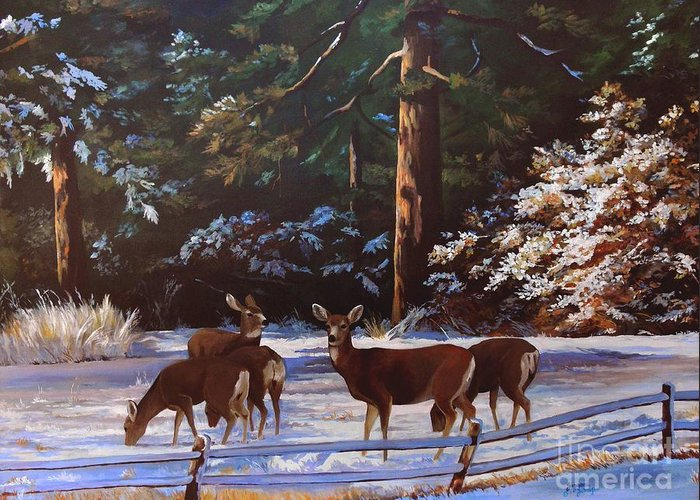 Deer Greeting Card featuring the painting Backyard Visitors by Suzanne Schaefer