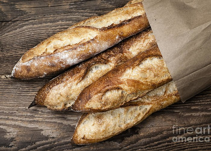 Bread Greeting Card featuring the photograph Baguettes Bread by Elena Elisseeva