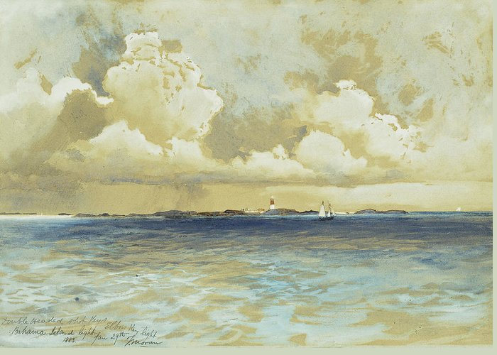Watercolor Greeting Card featuring the painting Bahama Island Light by Thomas Moran