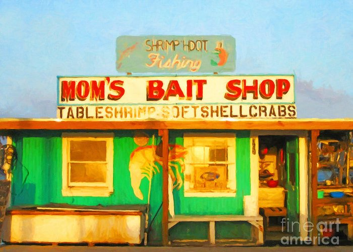 Americana Greeting Card featuring the photograph Bait Shop 20130309-1 by Wingsdomain Art and Photography