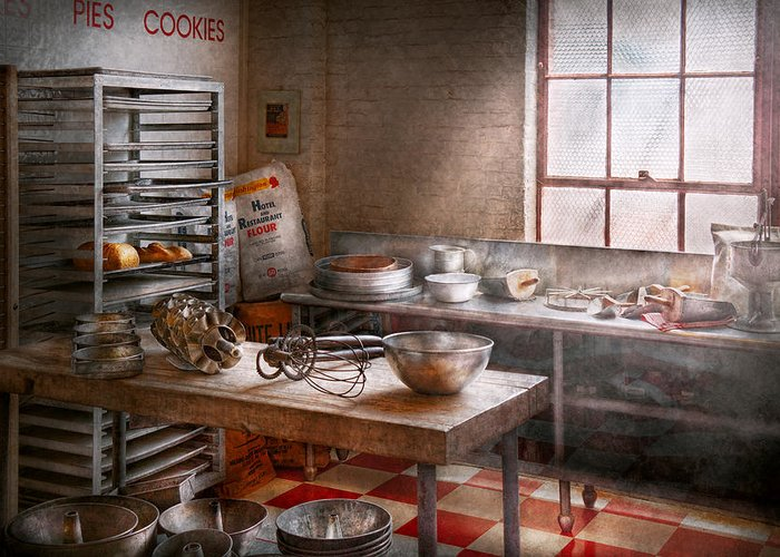 Baker Greeting Card featuring the photograph Baker - Kitchen - The Commercial Bakery by Mike Savad