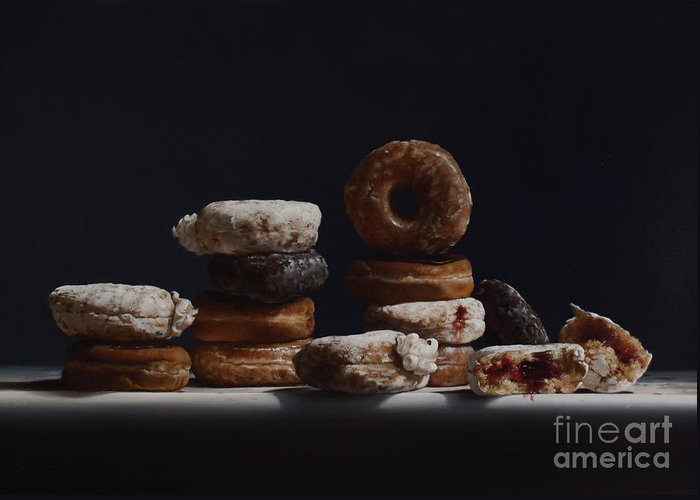 Donuts Greeting Card featuring the painting Bakers Dozen by Larry Preston
