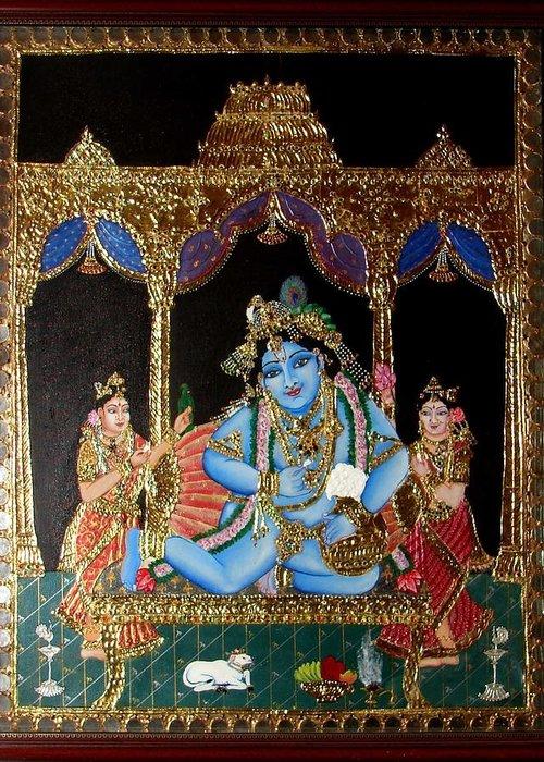 Tanjore Greeting Card featuring the painting Balakrishna by Jayashree