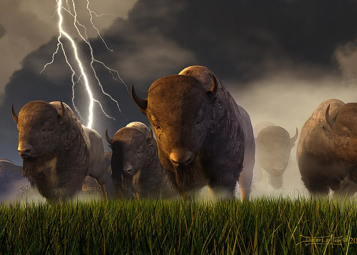 Buffalo Greeting Card featuring the digital art Balance Of Power by Dieter Carlton