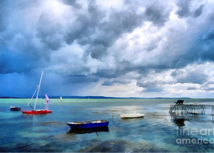 Odon Greeting Card featuring the painting Balaton Lake by Odon Czintos