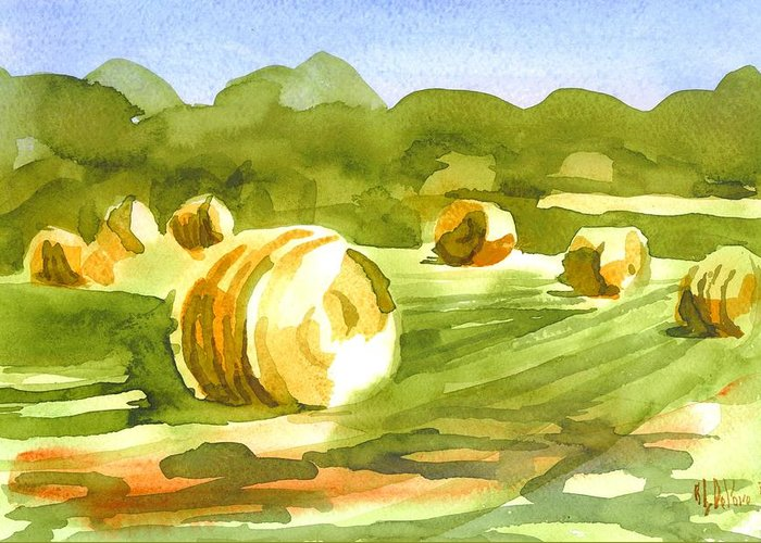 Bales In The Morning Sun Greeting Card featuring the painting Bales In The Morning Sun by Kip DeVore