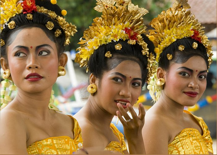 Glamour Greeting Card featuring the photograph Balinese Dancers by David Smith