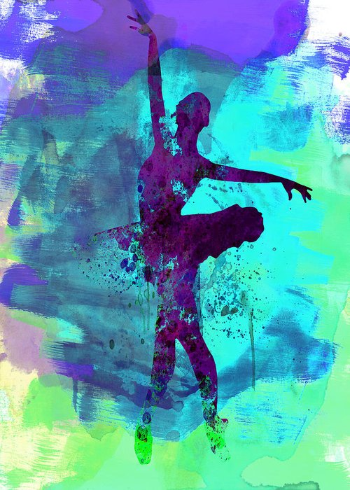 Striking Gallery Of Ballet Dancers Greeting Card featuring the painting Ballerina Watercolor 4 by Naxart Studio