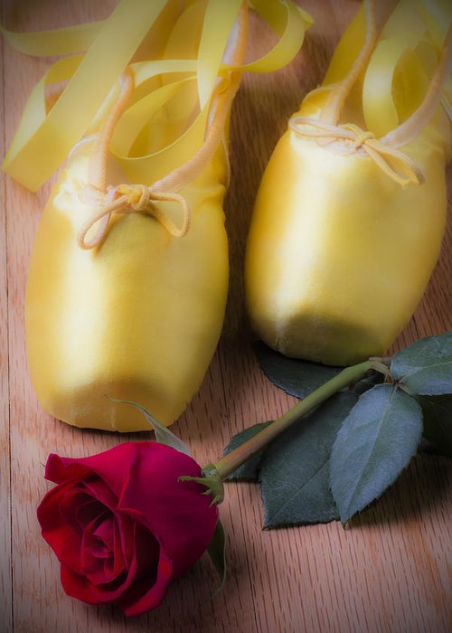 Ballet Shoes Shoe Greeting Card featuring the photograph Ballet Shoes With Red Rose by Garry Gay