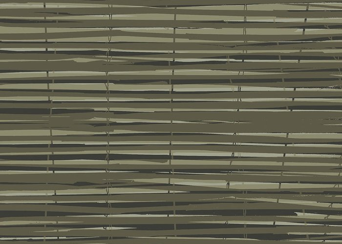Pattern Greeting Card featuring the digital art Bamboo Fence - Gray And Beige by Saya Studios