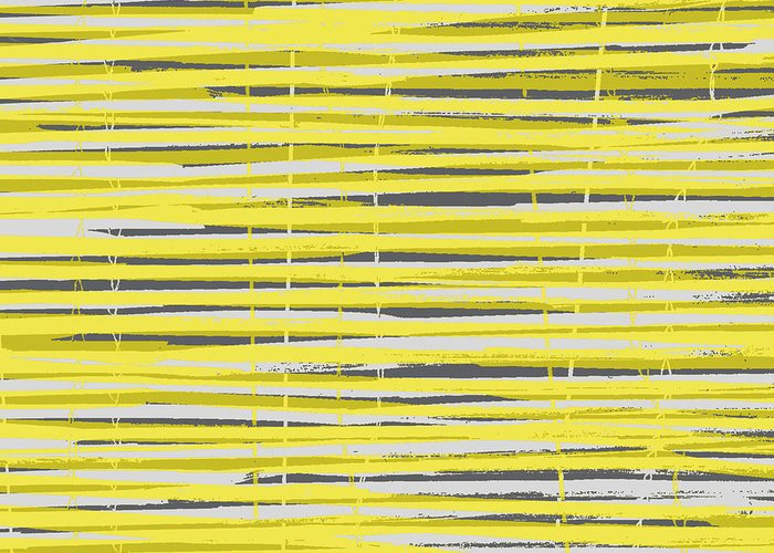 Pattern Greeting Card featuring the digital art Bamboo Fence - Yellow And Gray by Saya Studios