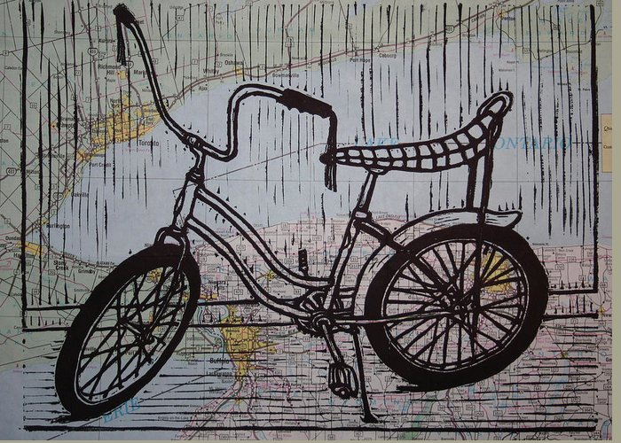 Bike Greeting Card featuring the drawing Banana Seat On Map by William Cauthern