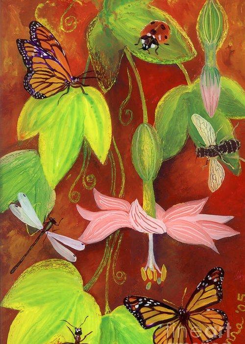 Monarch Butterfly Greeting Card featuring the painting Bananapoka by Anna Skaradzinska