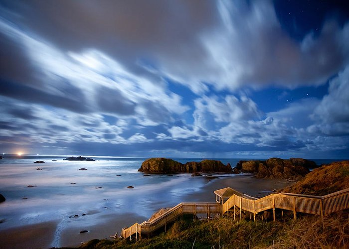 Bandon Greeting Card featuring the photograph Bandon Nightlife by Darren White