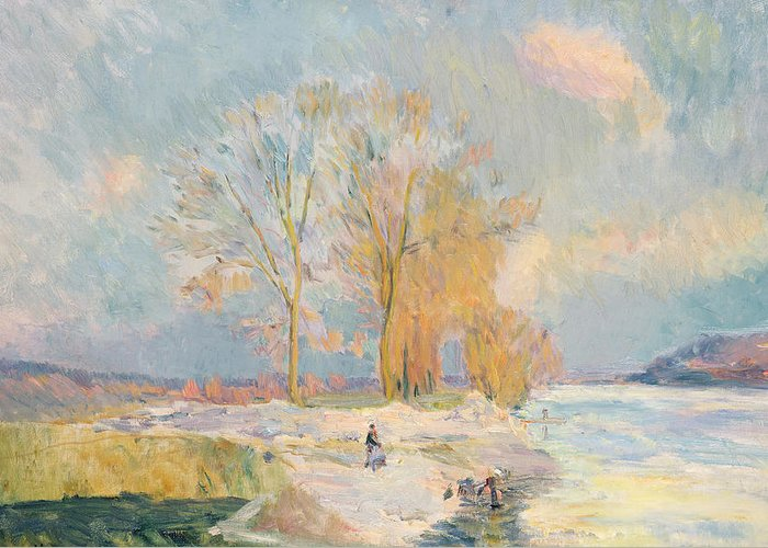 Wintry Greeting Card featuring the painting Banks Of The Seine And Vernon In Winter by Albert Charles Lebourg