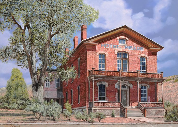 Montana Greeting Card featuring the painting Bannock-montana-hotel Meade by Guido Borelli