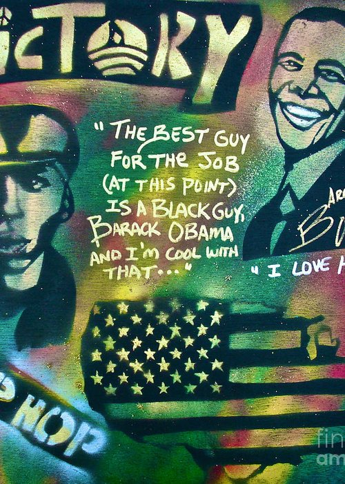 Barack Obama Greeting Card featuring the painting Barack And Mos Def by Tony B Conscious