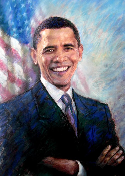 Barack Obama Greeting Card featuring the drawing Barack Obama by Viola El