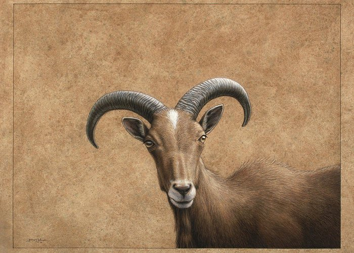 Barbary Ram Greeting Card featuring the painting Barbary Ram by James W Johnson
