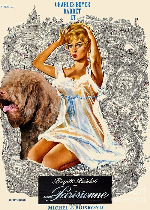 Greeting Card featuring the painting Barbet Art - Una Parisienne Movie Poster by Sandra Sij