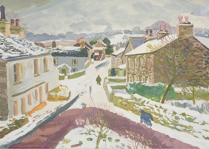 Winter Scenes: Contemporary Greeting Card featuring the painting Barbon In The Snow by Stephen Harris