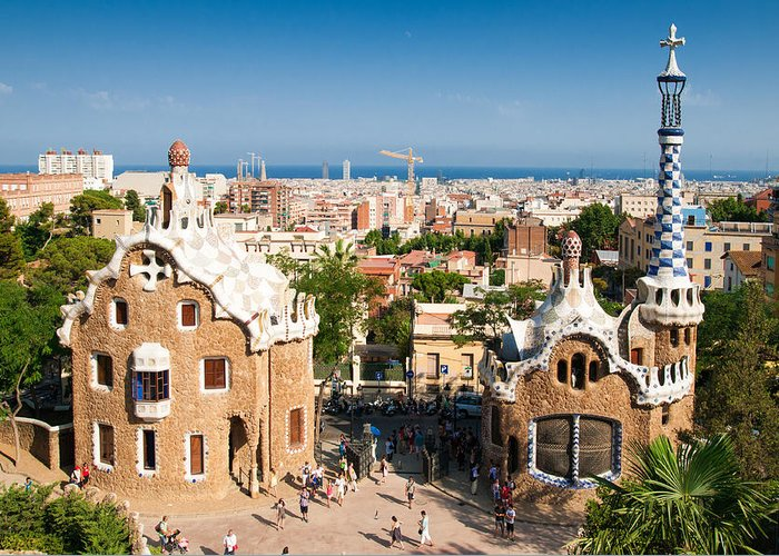 Barcelona Greeting Card featuring the photograph Barcelona Park Guell Antoni Gaudi by Matthias Hauser