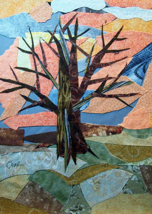 Fall Greeting Card featuring the tapestry - textile Bare Branches At Dusk by Charlene White