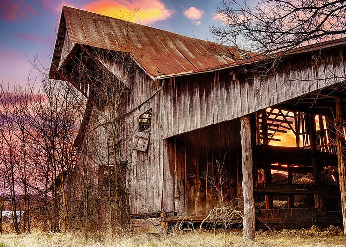 Barn Greeting Card featuring the photograph Barn At Sunset by Brett Engle