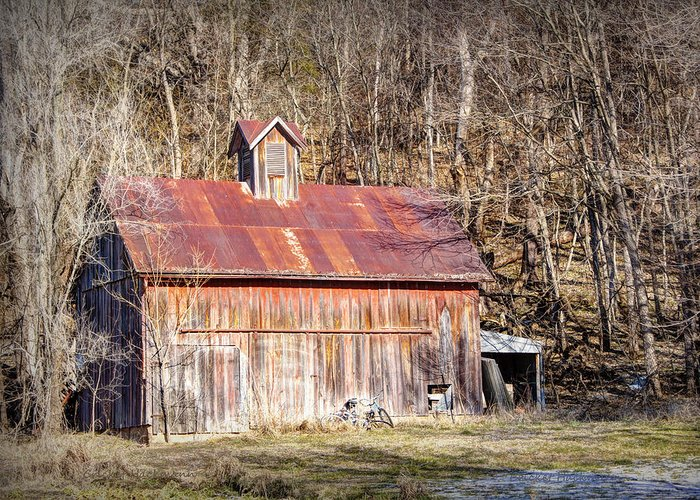 Barn Greeting Card featuring the photograph Barn By The Bluffs by Cricket Hackmann