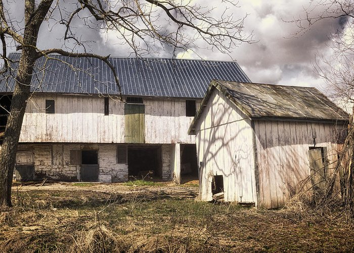 Agriculture Greeting Card featuring the photograph Barn Near Utica Mills Covered Bridge by Joan Carroll