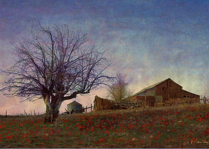 Barn Greeting Card featuring the painting Barn On The Hill - Big Sky by R christopher Vest