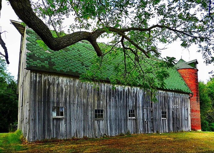 Old Barns Greeting Card featuring the photograph Barn With Brick Silo by Julie Dant