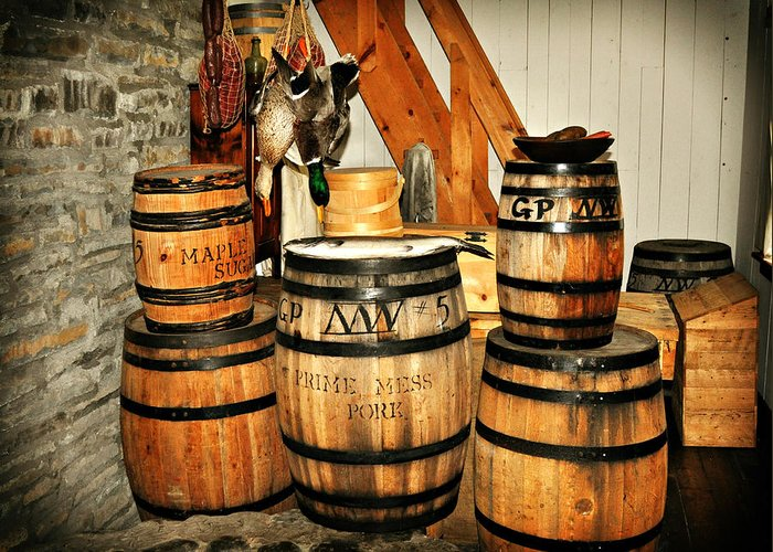 Rustic Greeting Card featuring the photograph Barrels by Marty Koch
