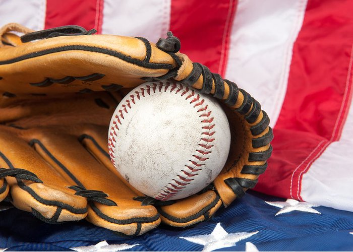 Baseball Greeting Card featuring the photograph Baseball And Glove On American Flag by Joe Belanger