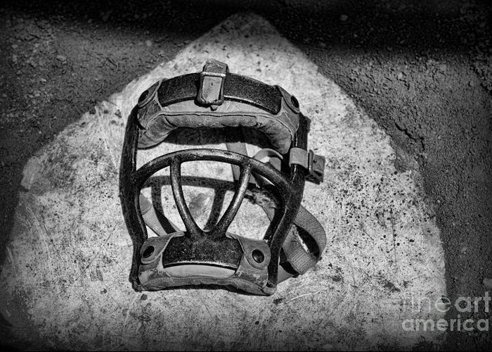 Paul Ward Greeting Card featuring the photograph Baseball Catchers Mask Vintage In Black And White by Paul Ward