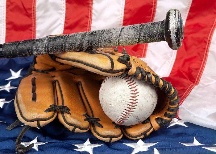 Baseball Greeting Card featuring the photograph Baseball Equipment On American Flag by Joe Belanger