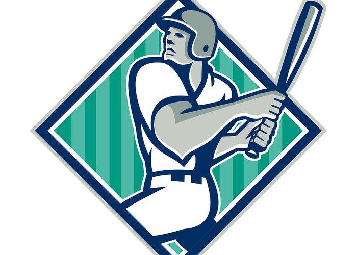 Baseball Greeting Card featuring the digital art Baseball Hitter Batting Diamond Retro by Aloysius Patrimonio